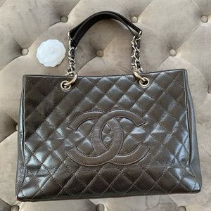 Chanel grand shopping tote brown quilted caviar